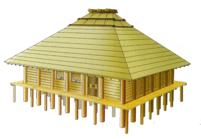 樽味四反地遺跡大型建物復元図宮本長二郎作成・松山市考古館提供