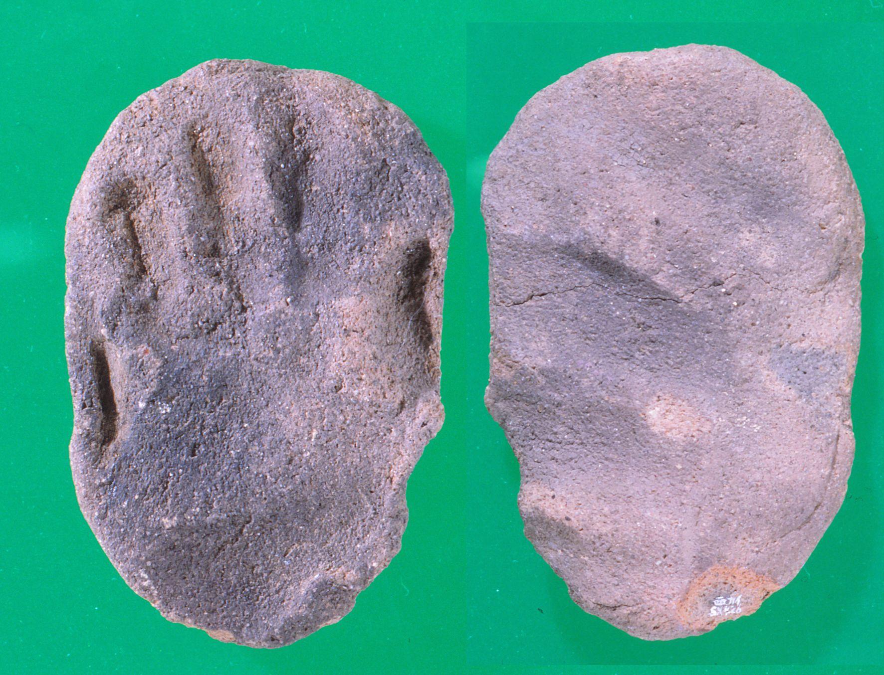 出土した土製品「赤ちゃんの手形」