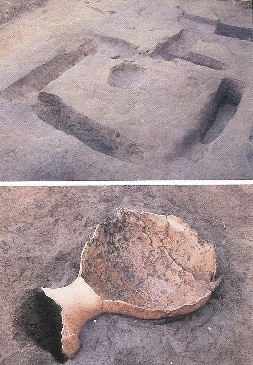 方形周溝墓と壺