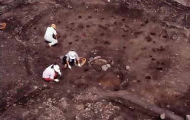 竪穴住居跡調査の様子