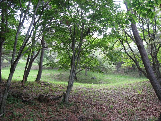 現在も埋まらずに残る、縄文人の採掘の跡