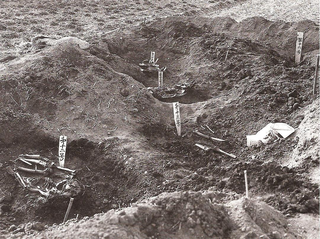 お墓(はか)に埋められた人骨(じんこつ)