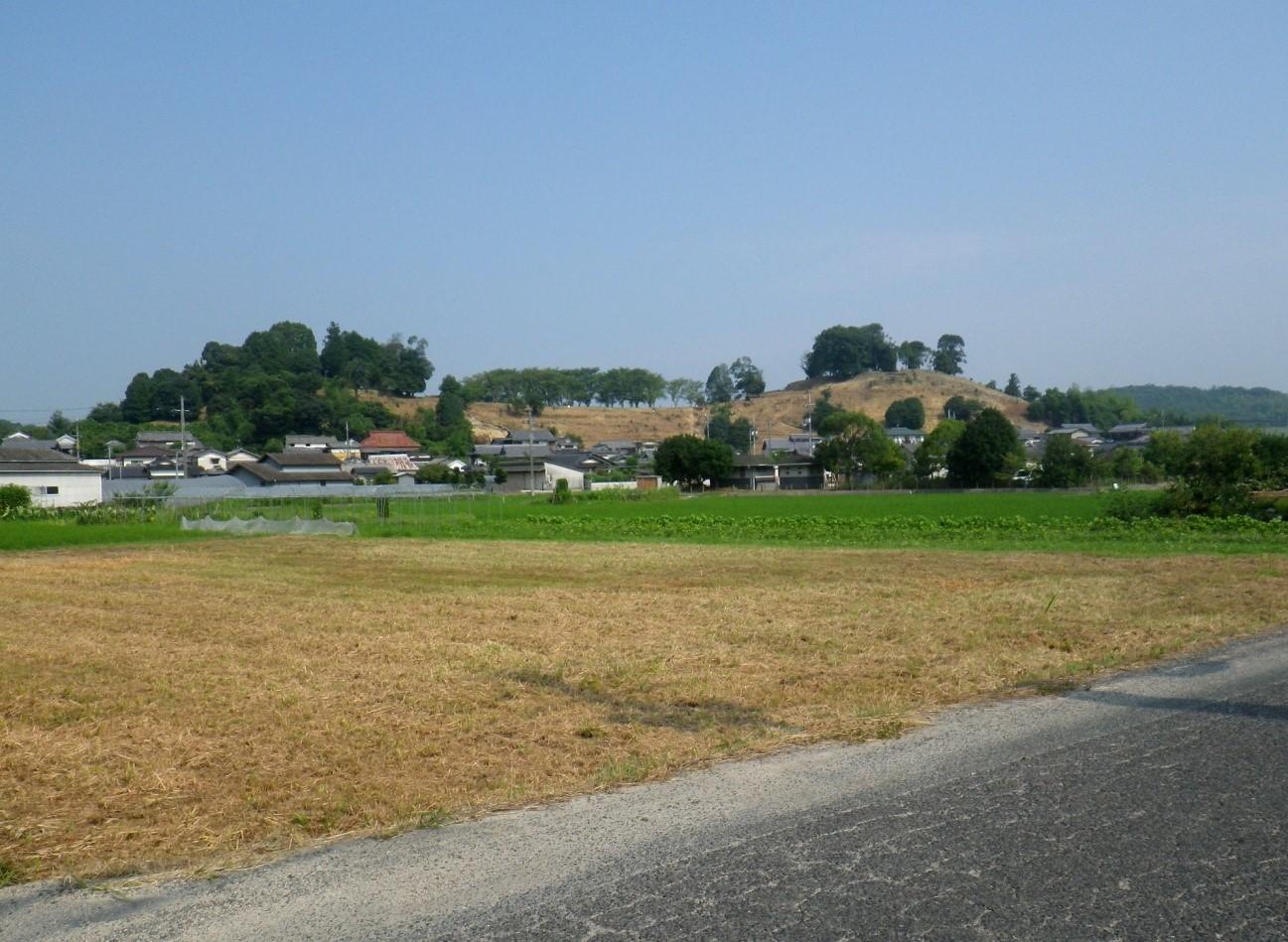 横からみた造山古墳(右が後円部、左端の低い木のあたりが前方部の端)