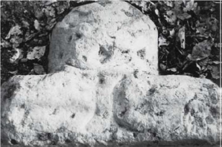 出土した長持ち型石棺の破片