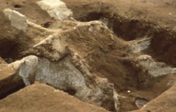 軽石で埋まった竪穴建物の屋根