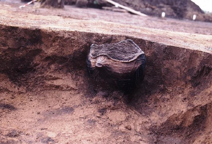 土坑墓にへばりついた土器
