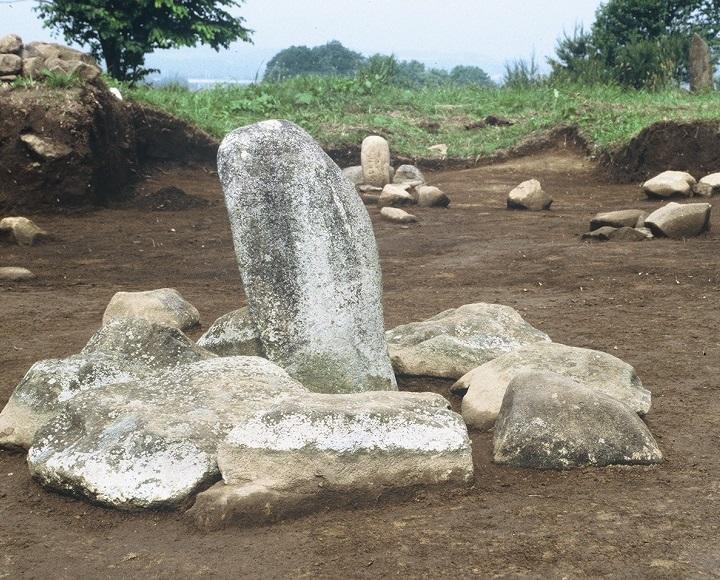 発掘された配石遺構群