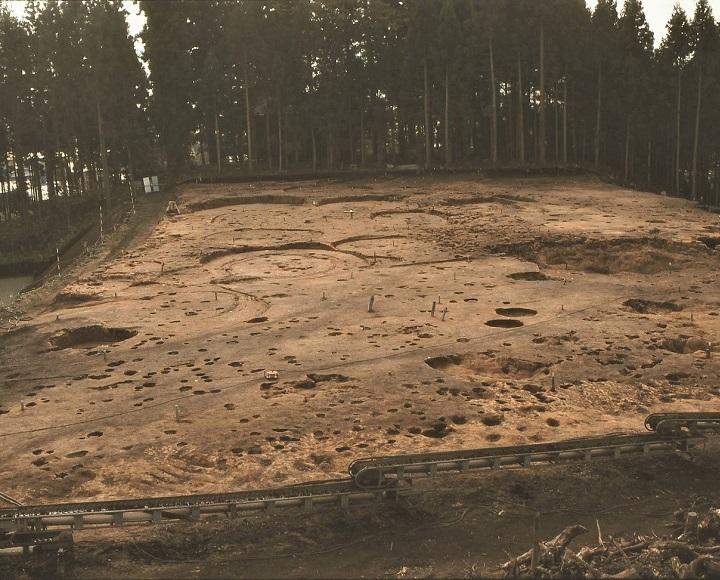 たて穴住居の跡が密集して発見された